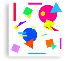 Coloured Retro (Small) Shapes 1980's - White - 80s 80's 1980s 1980's 1980 Classic Throw Back Canvas Print