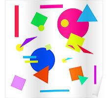 Coloured Retro (Small) Shapes 1980's - White - 80s 80's 1980s 1980's 1980 Classic Throw Back Poster