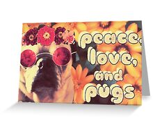 Flowered Hippie Pug Greeting Card