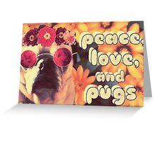 Flowered Hippie Pug Greeting Card