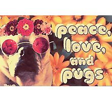 Flowered Hippie Pug Photographic Print