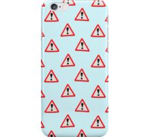 UK Road sign danger ahead exclamation mark wallpaper iPhone Case/Skin