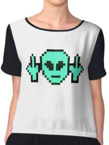 Pixel Alien Swearing Chiffon Top