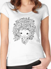 Cute girl with floral hairstyle Women's Fitted Scoop T-Shirt
