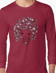 Cute girl with floral hairstyle Long Sleeve T-Shirt