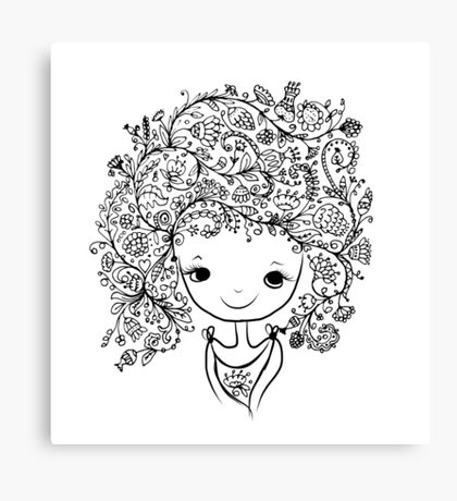 Cute girl with floral hairstyle Canvas Print