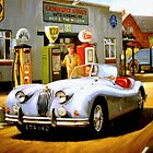 English sportscar at 1950s service station. by Mike Jeffries