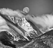 May Moon Set In Black And White by Gary Benson
