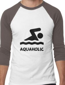 Aquaholic Swimmer Men's Baseball ¾ T-Shirt