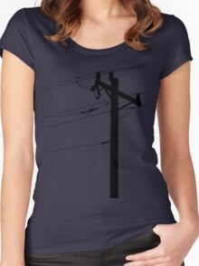 Telephone Pole Power Line Silhouette Women's Fitted Scoop T-Shirt