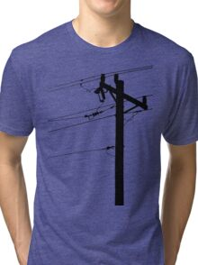 Telephone Pole Power Line Silhouette Tri-blend T-Shirt