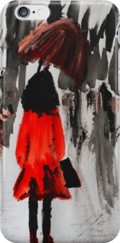 Girl In The Red Raincoat Urban Cityscape Contemporary Acrylic Painting by JamesPeart