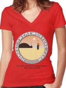 Honest Owens Moisture Farm Women's Fitted V-Neck T-Shirt