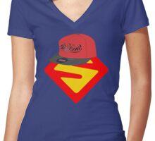 Superwoman logo +cap Women's Fitted V-Neck T-Shirt