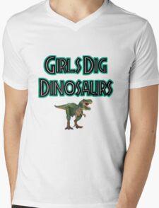 Girls Dig Dinosaurs! Mens V-Neck T-Shirt