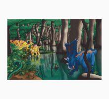 Dinosaur Swamp - Chasmosaurus and Parasaurolophus Kids Tee