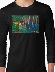 Dinosaur Swamp - Chasmosaurus and Parasaurolophus Long Sleeve T-Shirt