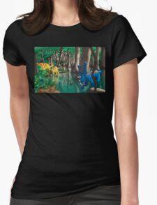 Dinosaur Swamp - Chasmosaurus and Parasaurolophus Womens Fitted T-Shirt