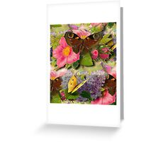 Brown and Yellow Vintage Butterflies Greeting Card