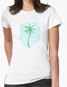 Watercolor Tropical Palm Tree Womens Fitted T-Shirt