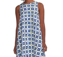 Portuguese Azulejos with Blue flowers A-Line Dress