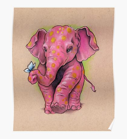 Pink Elephant (with golden spots) Poster