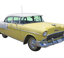Yellow 1955 Chevrolet Bel Air Classic Car by KWJphotoart