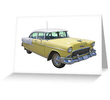 Yellow 1955 Chevrolet Bel Air Classic Car Greeting Card
