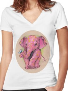 Pink Elephant (with golden spots) Women's Fitted V-Neck T-Shirt
