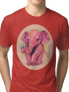 Pink Elephant (with golden spots) Tri-blend T-Shirt