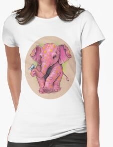 Pink Elephant (with golden spots) Womens Fitted T-Shirt