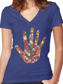 psychedelic hand  Women's Fitted V-Neck T-Shirt