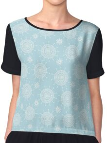 Simple doodle flower blue pattern. Seamless pastel abstract background.  Chiffon Top