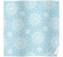 Simple doodle flower blue pattern. Seamless pastel abstract background.  Poster