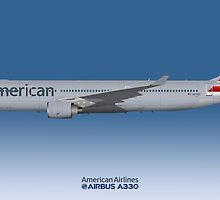 Illustration of American Airlines Airbus A330-300 - Blue Version by © Steve H Clark