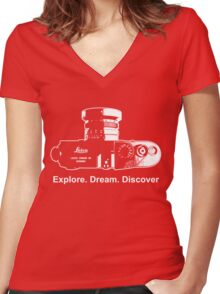 Leica Explore Dream Discover Women's Fitted V-Neck T-Shirt
