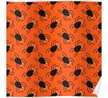 Halloween spiders diagonal pattern. Cute seamless background. Poster