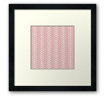 Simple leaf seamless pattern. Hand drawn pink background. Cute wallpaper. Framed Print