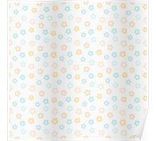 Simple cute pastel pattern. Floral mint seamless kids background.  Poster
