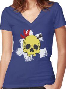 Mumbo Skull Women's Fitted V-Neck T-Shirt