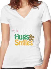 Pink Love Hugs & Smiles Women's Fitted V-Neck T-Shirt