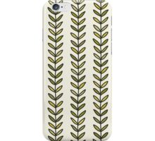 Simple green leaf seamless pattern. Hand drawn natural background.  iPhone Case/Skin