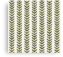 Simple green leaf seamless pattern. Hand drawn natural background.  Canvas Print