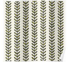Simple green leaf seamless pattern. Hand drawn natural background.  Poster
