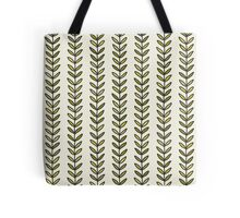 Simple green leaf seamless pattern. Hand drawn natural background.  Tote Bag