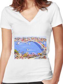 Across the blue Women's Fitted V-Neck T-Shirt
