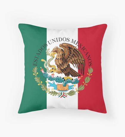 Flag of Mexico (augmented scale) with Coat of Arms (overlaid) Throw Pillow