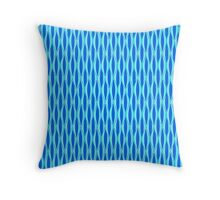 Mid-Century Ribbon Print - shades of blue Throw Pillow