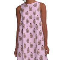 Bow Sloth Pattern A-Line Dress