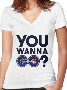 Pokemon GO - You wanna GO? Women's Fitted V-Neck T-Shirt